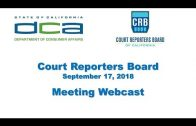 Court Reporters Board of California meeting – September 17, 2018